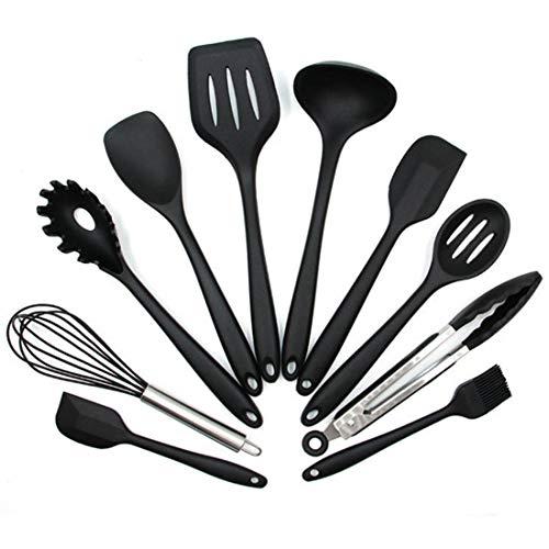 DIKER Silikon Küchenutensilien Küchenhelfer, 10+1 Stück Silikon Kochen Gadgets Utensilien - Hitzebeständig und Langlebig Küchenset