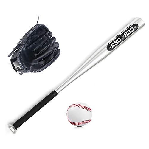 Lixada Baseballbälle Set Baseballschläger + Baseball + Baseballhandschuhe 25-Zoll-Baseballschläger aus Aluminiumlegierung 10,5 Zoll PVC-Baseballhandschuh Baseball-Kit für Jugendkinder