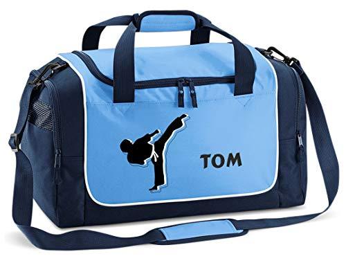 Mein Zwergenland Sporttasche Kinder Praktisch kompakt & robust Sporttasche mit Namen Kampfsport als Aufdruck Farbe SkyBlue Blau 38 L Stauraum die perfekte Sporttasche für Kinder