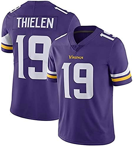 ZQN Herren Kurzarm T-Shirt, NFL Uniform Minnesota Vikings # 19 Adam Thielen Trikots, American Football Sweatshirt, Fans Trainings Tops Sport,Blau,L