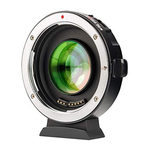 VILTROX EF-M2Ⅱ(二代目) スピードブースター 0.71 X 焦点距離を短縮 AF キャノン Canon EFレンズ→マイクロフォーサーズ変換 マウントアダプター パナソニック GH/GXシリーズ オリンパス M43カメラに対応 絞り制御 手振れ補正 GH5 GH4 GF1 GX85 E-M5 E-M10 E-M10II E-PL3 PEN-F BMPCC BMPCC4K