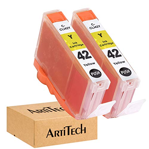 ArtiTech CLI-42 Y Pixma Pro-100 Compatible Ink Cartridges Replacement for Canon CLI42 CLI-42 Yellow Ink Cartridge Work for Pixma Pro-100S Printers,2 Pack CLI-42 Y