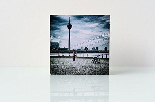 Düsseldorf Fernsehturm Foto auf Holz, im Quadrat, 10 x 10 cm