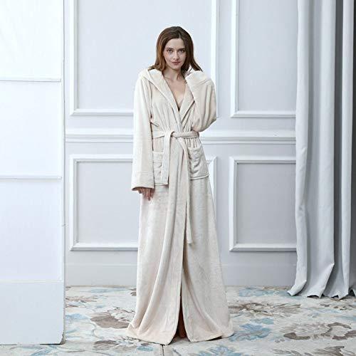 YRTHOR Albornoz de franela de invierno, tallas grandes, extra largo, con capucha, cálido, para los amantes del baño grueso, bata de baño, color beige, talla L
