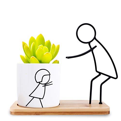 Herefun Macetas Decorativas, Macetas para Plantas Cactus Suculento Plantas, Flower Pot Blanca con Plato de Bambú, Macetas Interior Regalo Hogareña Jardin Boda Decorativos (Padre & Niño)