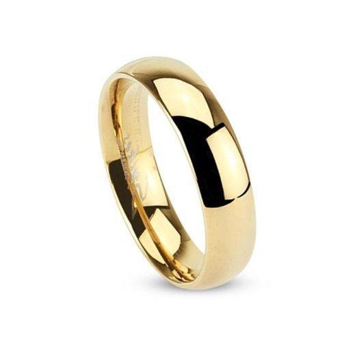 Tapsi´s Coolbodyart®| Klassischer Partner Ehe Ring Edelstahl 5mm Breit Gold Poliert 57(18)