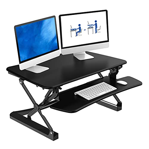 FlexiSpot M2B Standing Desk Converter - 35 Inch wide platform Height Adjustable Stand up Desk Riser with Removable Keyboard Tray (Medium size Black)