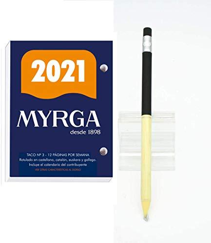 Bloc Taco Calendario MYRGA de sobremesa o escritorio año 2021 650 páginas + Portaminas Inoxcrom