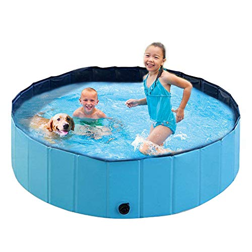 SZC Hard Plastic Kiddie Pool - Foldable Dog Baby Swimming Pool Portable Large Dogs Pool for Kids