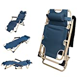 HEANI Outdoor Lounge Chairs for Outside– Foldable Folding Lounge Chairs for Sun Tanning – Adjustable Footrest and Padded Armrests – Backrest Support Reinforcement Rod 70 x 26 x 12.6 inches