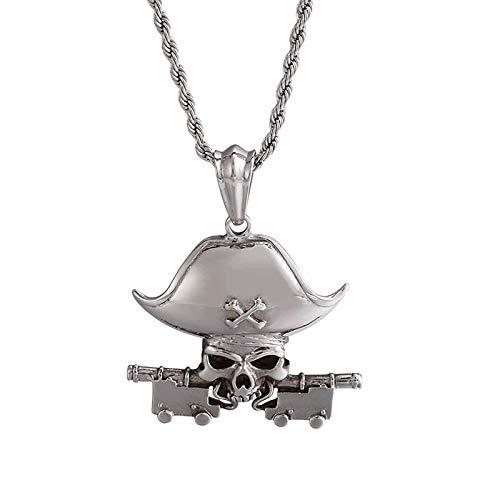 HHW Collar De Calavera Mecánico De Acero De Titanio Colgante con Emblema Pirata Vintage Europeo Y Americano