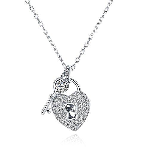 REAOK - 925 Sterlingsilber Sterling-Silber Lock and Key