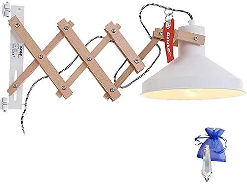 Lámpara de tijera con bisagra, lámpara de pared industrial, casquillo E27, lámpara de pared extensible para LED y bombilla con regulador de intensidad + Giveaway