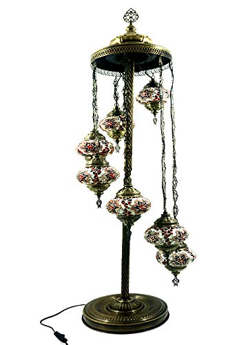 Orientalische Türkische Stil Glasmosaik Ottomane Asiatisch Handgefertigte Mosaik Glas Boden Lampe Innenleuchte Orientalische Lampe Glas Stehlampe Bodenlampe 7 Lichter Glasgröße 2 (Orange-Rot)