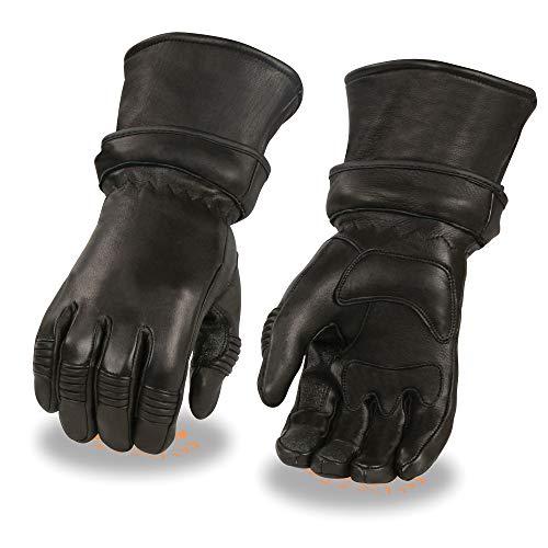Xelement XG852 Men's Black Insulated Leather Deerskin Gauntlet Motorcycle Gloves - 2X-Large
