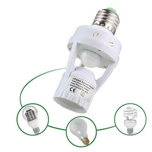 LayOPO - Adaptador de Enchufe con Sensor de Movimiento automático, Modo de Día y Noche, Detección de 360 Grados, Sensor infrarrojo, E27 con Base de Bombilla LED para Pasillo, Baño, Dormitorio, Cocina