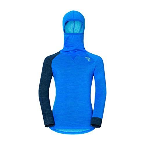 Odlo Kinder Revolution Langarm-Shirt Mit Gesichtsmaske, Directoire Blue Melange/Navy New Melange, 80/1-2 Jahren