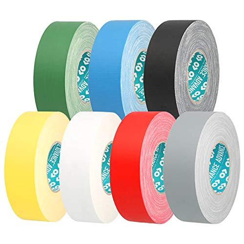 Advance Tapes AT0160 Series AT160 Cinta de tela impermeable mate de calidad premium, amarillo, 25 mm x 50 m, núcleo de 76 mm, rollo individual