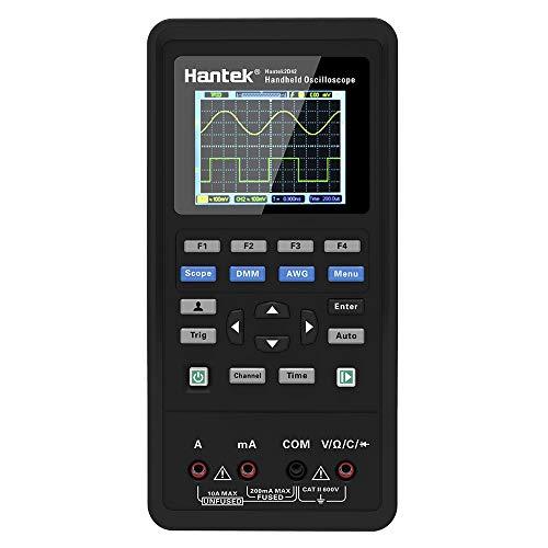 Hantek Digitales Oszilloskop, 3 in 1 Handheld Oszilloskop + Wellenformgenerator + Multimeter 2 Kanal USB Scopemeter 40MHz / 70MHz Bandbreite 250MSa / s Abtastrate 2D42 TFT LCD-Display Testmeter