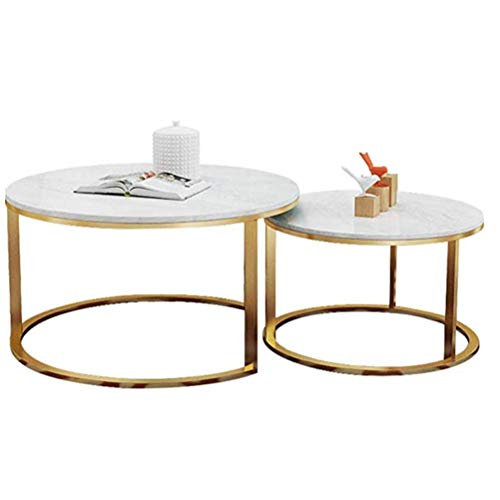 OLLTT Tavolino Moderno 2 Set di tavoli Nest, Comodino in Metallo Comodino, Divano in Marmo Bianco Tavolino da Salotto Mobili tavolino Tavolino Moderno Tavolini Estraibili, Oro