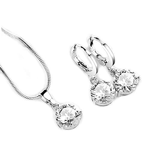 Naropox Juego de Joyería para Mujer, Juego de Collar y Arete con Cristales de Fantasía, con Caja de Regalo, Regalo Ideal para Mamá/Novia/Esposa