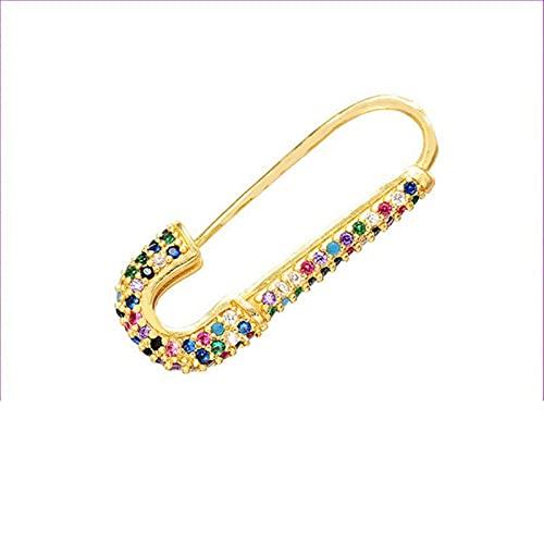 1 Paio Orecchini A Cerchio Spilla da Balia Zircone Cubico Orecchino Singolo Arcobaleno Cz Gioielli Colore Oro Clip di Carta Aretes Rosa Verde Trendy