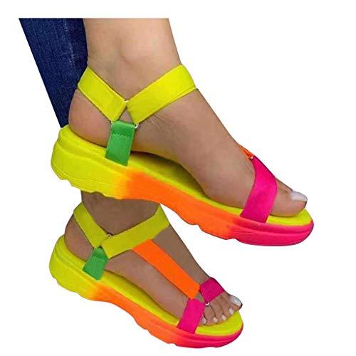 Aniywn Platform Sandals for Women Open Toe Ankle Strap Platform Flat Sandals Wedge Heel Comfort Sandals