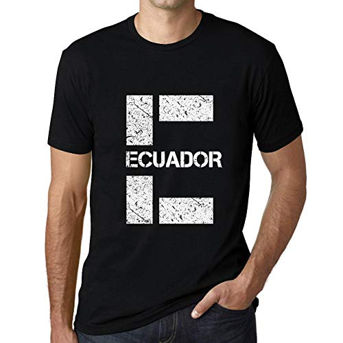 One in the City Hombre Camiseta Vintage T-shirt Gráfico Letter E Countries and Cities ECUADOR Negro Profundo