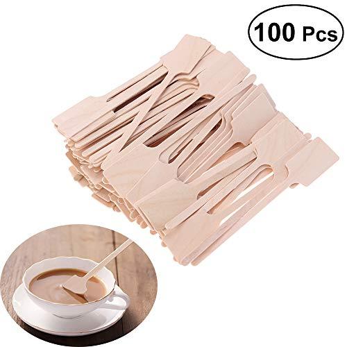 ZPFDM Einweg-Kaffeestange aus Holz, Stir Sticks 100 Count, umweltfreundliches Birkenholz, Trinkrührer für Getränke, Tee und Kunsthandwerk mit runden Enden