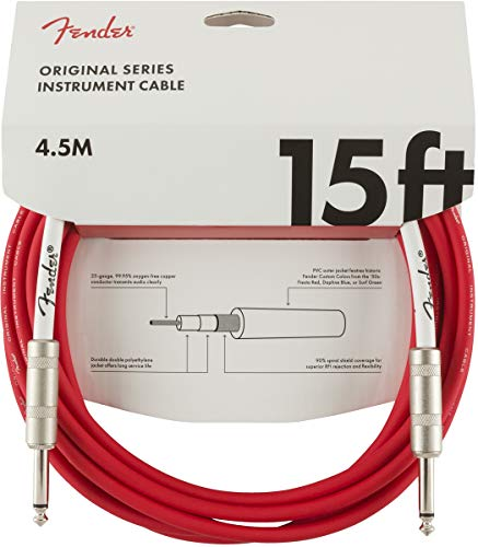 Fender Original Series Instrument Cable for Electric Guitar, Bass Guitar, Electric Mandolin, Pro Audio - Fiesta Red - 15'