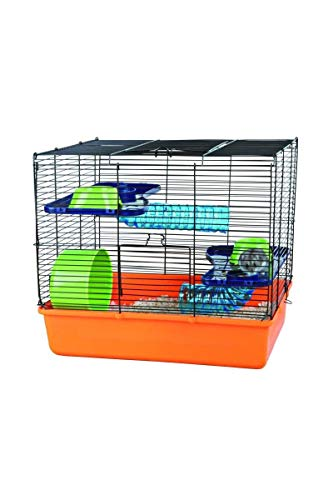 Trixie 6400 Hamsterkäfig mit Grundausstattung, 40 × 38 × 30 cm, orange/blau/grün
