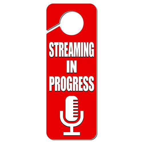 Graphics and More Streaming in Progress Microphone Plastic Door Knob Hanger Sign