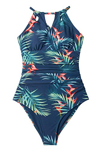 CUPSHE Damen Badeanzug High Neck Cutout Bademode Bauchweg Tropischer Blätterprint Einteilige Strandmode Swimsuit Blau/Blätter M