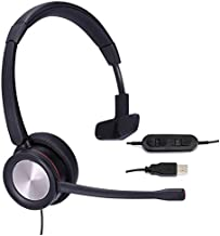 MKJ USB Headset with Microphone Noise Cancelling Computer Headset for Skype Calls Zoom Headset with Dictation Microphone for PC Softphones Remote Office Meeting USB Heaphones for Microsoft Teams