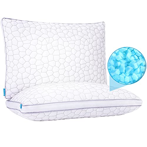 Cooling Pillows for Sleeping 2 Pack Shredded Memory Foam Bamboo Pillow with Adjustable Loft Hypoallergenic Sleeping Pillow Queen Size Set of 2 Bed Pillow for Back and Side Sleeper with Washable Cover