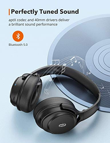 Active Noise Cancelling Headphones, TaoTronics Bluetooth Headphones [2020 Version] Over Ear Wireless Headphones 40H Playtime Type-C Fast Charging Bluetooth 5.0 CVC 8.0 Mic for Online Class Black