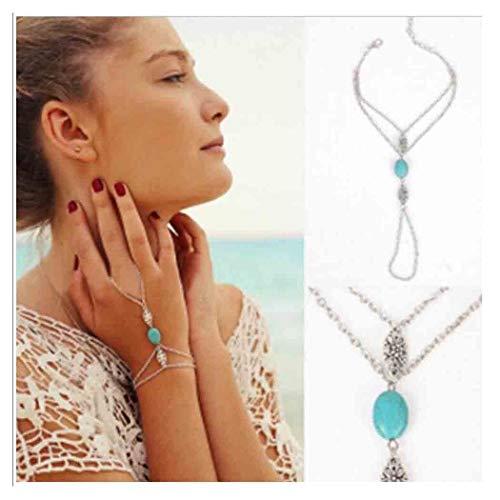 Olbye Turquoise Finger Ring Bracelet Dainty Silver Flower Harness Bangle Chain Everyday Bracelet Jewelry Gift for Women and Girls