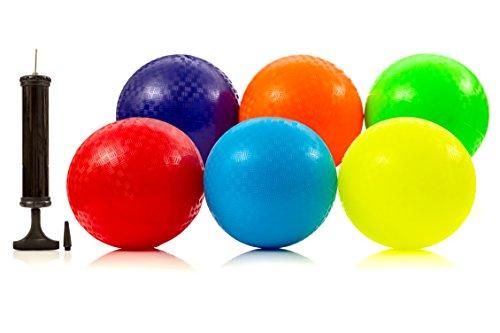 8.5 Inch Playground Ball (Set of 6) with 1 Hand Pump, School Balls Kickball DodgeBall kids sports