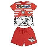 Paw Patrol Camiseta y Pantalones Cortos para Nios, Pijama de 2 Piezas, Algodn, Conjunto de Verano, Diseo Marshall, Regalo Nios, Talla 5 Aos