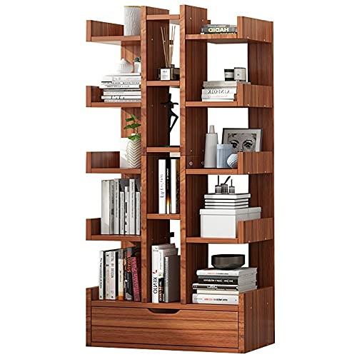 WHOJS Estanterías Librerias Librería de Almacenamiento De Madera Estante de exhibición de 16 Niveles Estantes Independientes para la Oficina en casa Autoportante Mensole(Color:marrón)