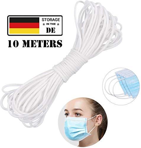 elloLife Gummiband 3mm 10m, Gummikordel Nähen Weiss Gummilitze Hochwertige Elastische für DIY Nähen und Handwerk