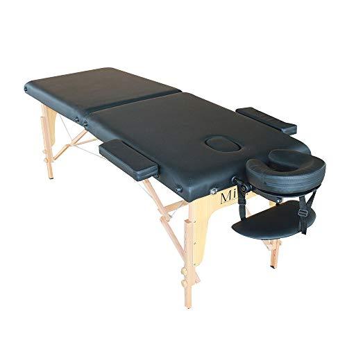 Lettino portatile da massaggio richiudibile professionale Mira lettini da trasporto (Nero)
