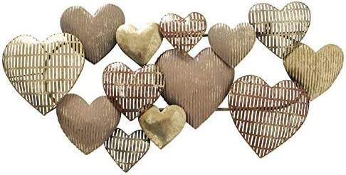 Modernist Floating Hearts Abstract Metal Wall Art Sculpture Golden Gilt Dappled Vintage Patina product image