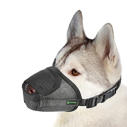 ILEPARK Maulkorb für Hunde mit Rundumschutz aus Mesh Netzstoff - Verhindert Bellen, Beißen und Lecken - Atmungsaktiver Mesh Maulkorb (S, Schwarz)