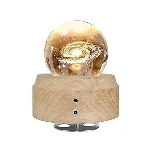 XYZMDJ Música Bola de Cristal Light-3D Caja Luminosa giratoria Musical boj Base Mejor for el cumpleaños de Navidad