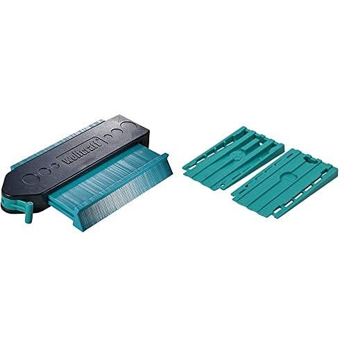 Wolfcraft 6949000 - Medidor De Contornos + 6946000 - Pack De 30 Cuñas Separadoras Universales Para Suelo, Turquesa