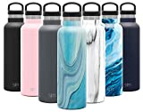 Simple Modern 20oz Ascent Water Bottle - Hydro Vacuum Insulated Tumbler Flask w/Handle Lid - Blue Double Wall Stainless Steel Reusable - Leakproof Pattern: Ocean Quartz