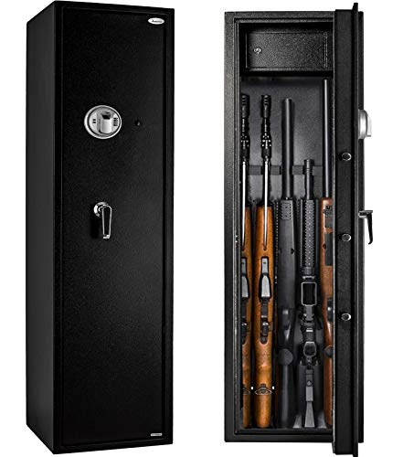 Rifle Safe Gun Safe Quick Access 5-Gun Shotgun Cabinet (Large Gun Safe-Biometric)