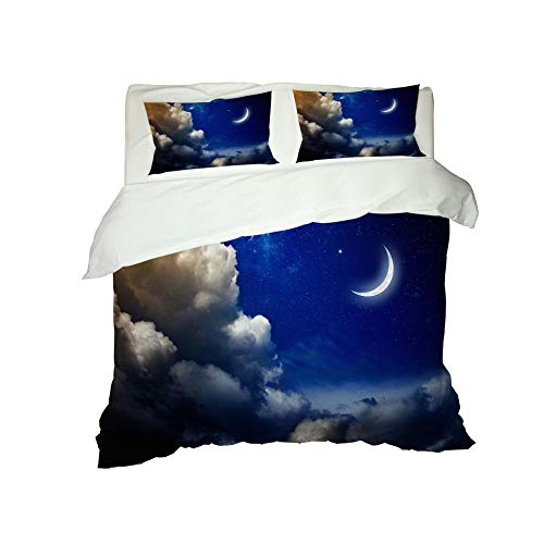 RYQRP Single Duvet Cover Set Blue Starry Sky Moon Bedding Set with Zipper Closure in Polyester, 3pcs, 1 Quilt Cover 2 Pillowcases for Children Adults, 140x200cm
