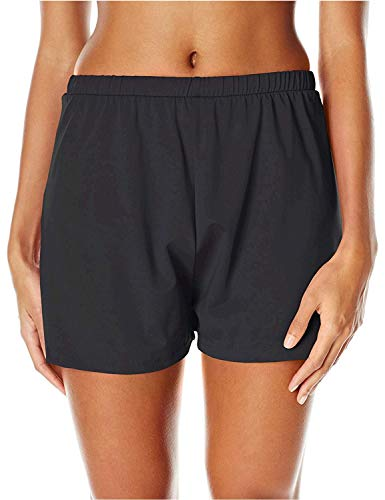 Maxine Of Hollywood Women's 2'' Loose Fit Mid Rise Swim Shorts, Black, 14